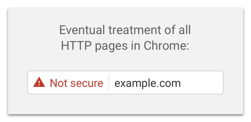 website security warning - chrome release 68